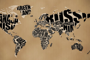 World Map With Text - Mural
