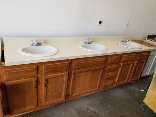 Three Sink Vanity Unit with top and three Delta Sinks with Faucets