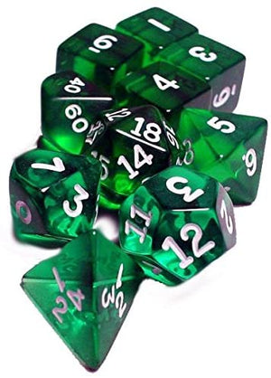 Transparent Polyhedral Dice 10pc : green 10pc (hook top tube)