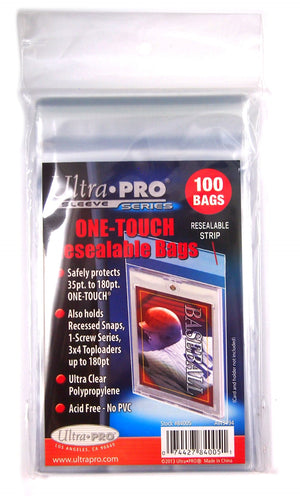 One-Touch Resealable Bag (100 Ct)  For Toploader