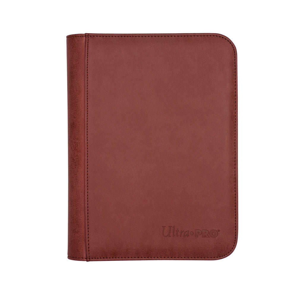 Suede Collection Zippered 4-Pocket Premium Pro Binder - Ruby