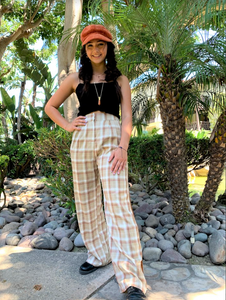 Plaid Straight Leg Trouser Pants