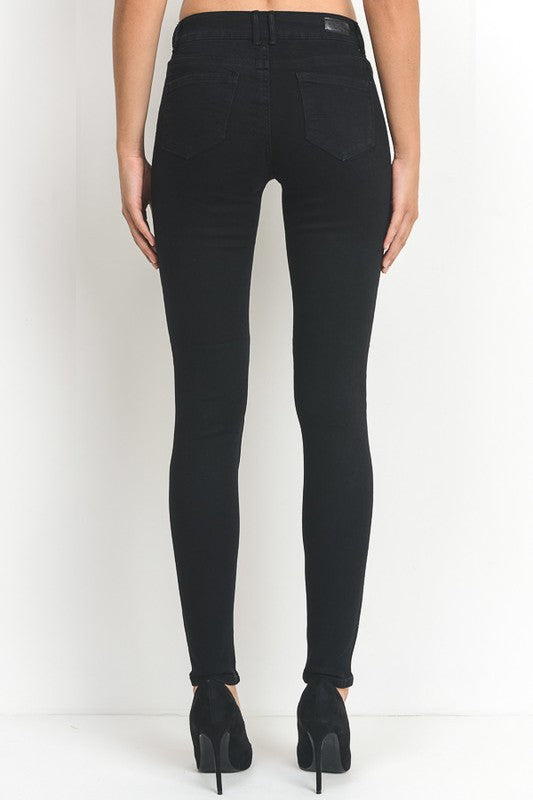 Mid-Rise Black Jeans with Rips