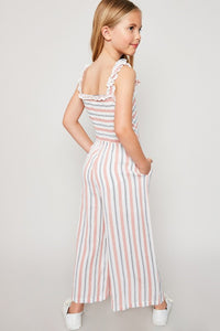 Girls Striped Jumpsuit