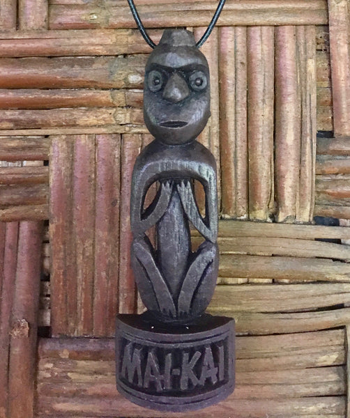 Brown Birdman Tiki Necklace that says Mai-Kai