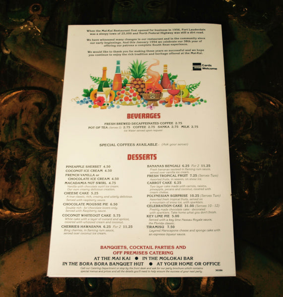 back page of the mai-kai 38 year anniversary vintage food menu
