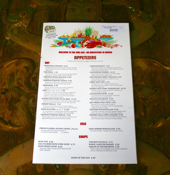 Front page view of the mai-Kai 38 year anniversary vintage food menu