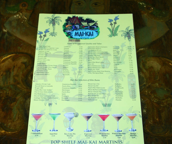 Close up front page view of Mai-Kai new drink menu