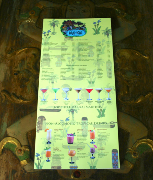 Front page view of Mai-Kai new drink menu