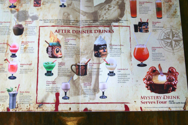 Close up inside view of Mai-Kai new drink menu