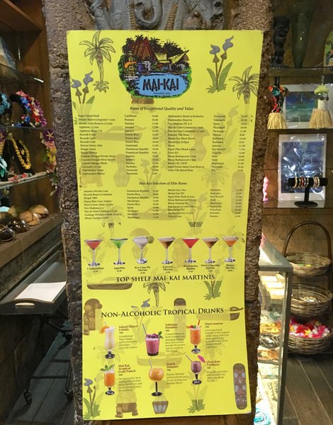 Front page view of Mai-Kai new drink menu that was used in the restaurant