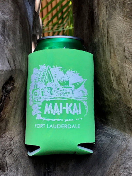 Mai-Kai neon green collapsible drink coolie with classic logo imprint