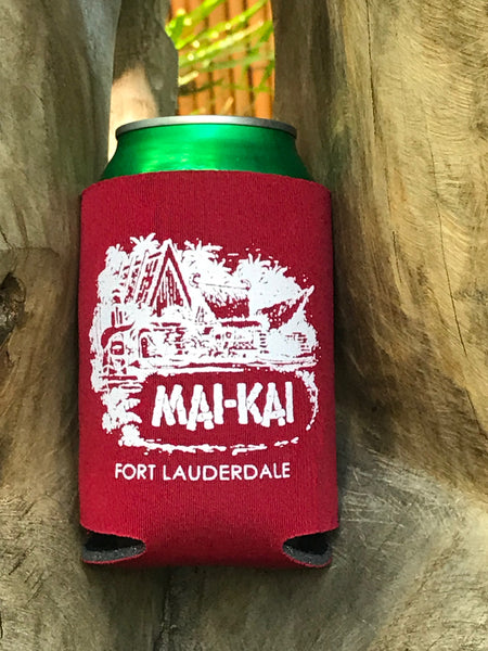 Mai-Kai cardinal red collapsible drink coolie with classic logo imprint