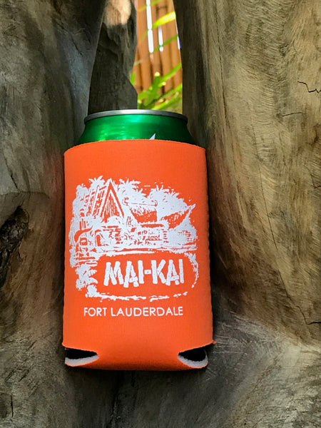 Mai-Kai tangerine orange collapsible drink coolie with classic logo imprint