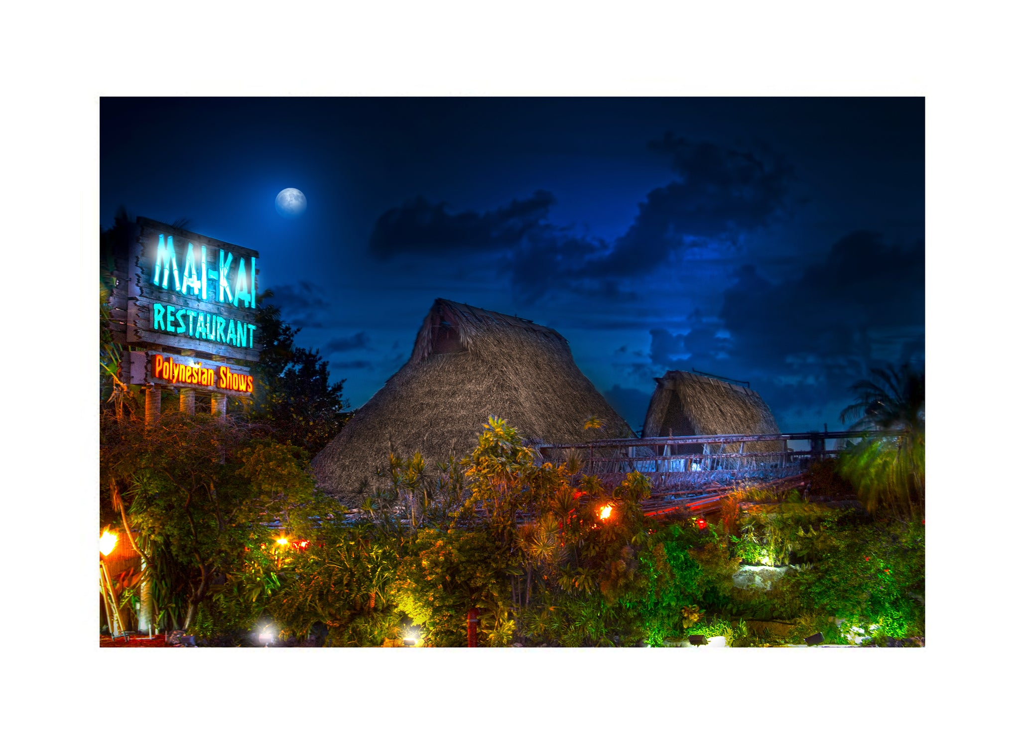 Photo of Mai-Kai Restaurant in the evening with a moon over it, photo art print