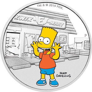 2019 Tuvalu $1 The Simpsons – Bart 1oz Silver Proof Coin