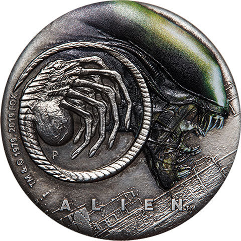 2019 Tuvalu $2 Alien 40th Anniv. 2oz Silver Antiqued Coin