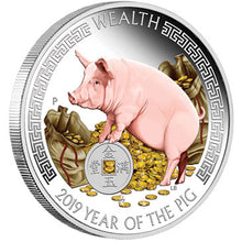 2019 Tuvalu $1 Wealth & Wisdom - Pig 1oz Silver Proof Two-Coin Set