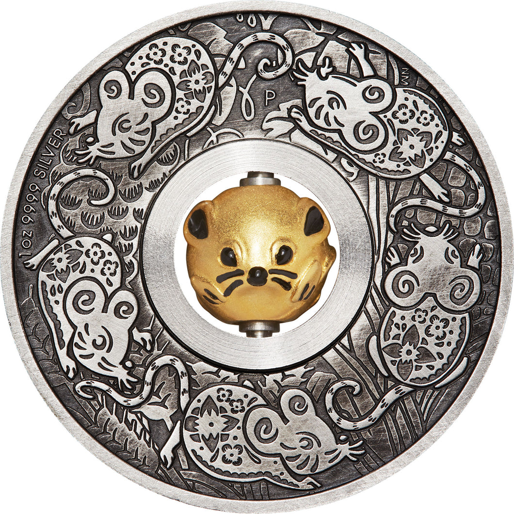 2020 Tuvalu $1 Year of the Mouse Rotating Charm 1oz Silver Coin