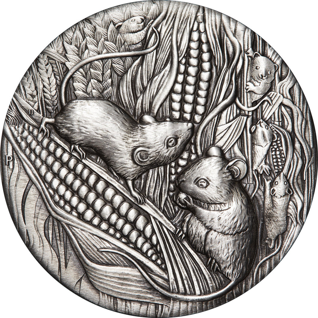 2020 $2 Year of the Mouse 2oz Silver Antiqued Coin