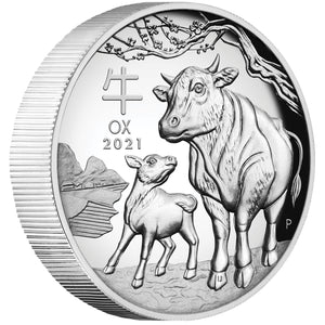 2021 $1 Year of the Ox 1oz Silver Proof High Relief Coin