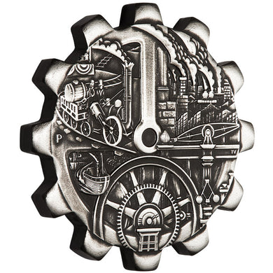 2018 Tuvalu $1 Evolution of Industry 1oz Silver Gears Pair