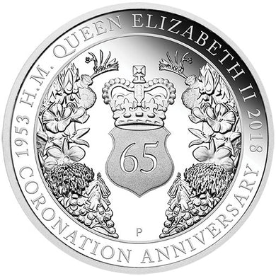 2018 $1 QEII Coronation 1oz Silver Proof Coin