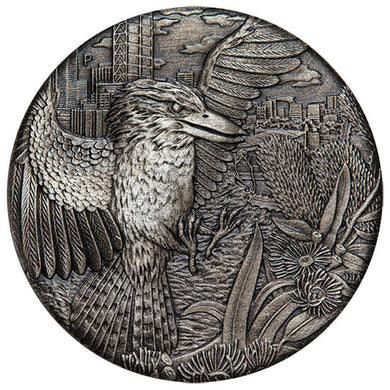 2018 $2 Kookaburra High Relief 2oz Silver Antiqued Coin