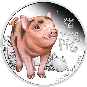 2019 Tuvalu 50c Baby Pig 1/2oz Silver Proof Coin