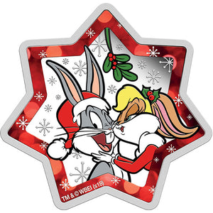 2018 Tuvalu $1 Looney Tunes Christmas 1oz Star-Shaped Silver Proof Coin
