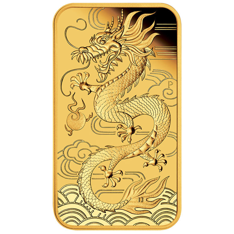 2018 100 Dragon Rectangular 1oz Gold Proof Melbourne