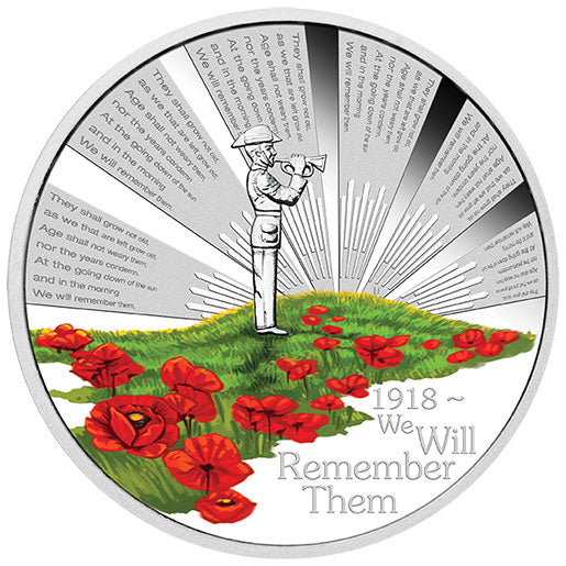 2018 $1 ANZAC Spirit - We Will Remember Them 1oz Silver Proof Coin