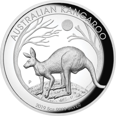 2019 $8 Kangaroo High Relief 5oz Silver Proof Coin