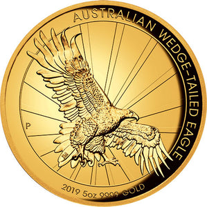 2019 $500 Wedge-tailed Eagle High Relief 5oz Gold Proof Coin