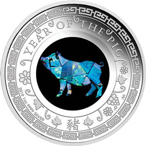 2019 $1 Opal Lunar Pig 1oz Silver Proof Coin
