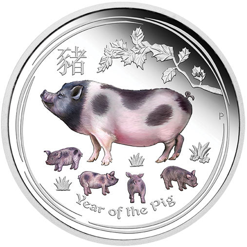 2019 $1 Year of the Pig Colour 1oz Silver Proof