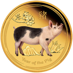 2019 $100 Year of the Pig Colour 1oz Gold Proof