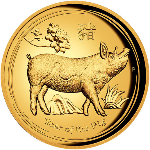 2019 $100 Year of the Pig High Relief 1oz Gold Proof Coin