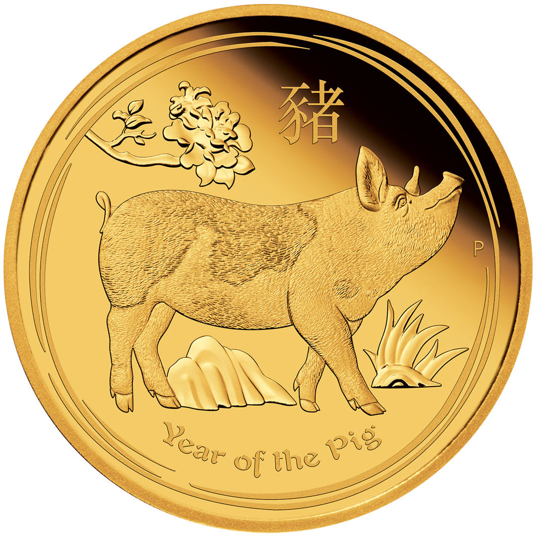 2019 $15 Year of the Pig 1/10oz Gold Proof Coin