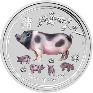 2019 $30 Year of the Pig Gemstone 1 Kilo Silver Coin
