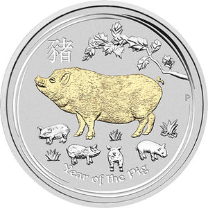 2019 $1 Year of the Pig Gilded 1oz Silver Gilded Coin