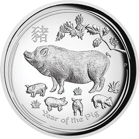 2019 $1 Year of the Pig High Relief 1oz Silver Proof Coin