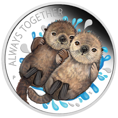 2020 Tuvalu 50c Always Together - Otters 1/2oz Silver Proof Coin