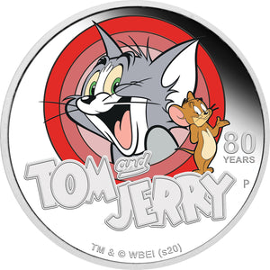2020 Tuvalu $1 TOM and JERRY 80th Anniv 1oz Silver Proof Coin