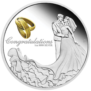 2020 $1 Wedding 1oz Silver Proof Coin