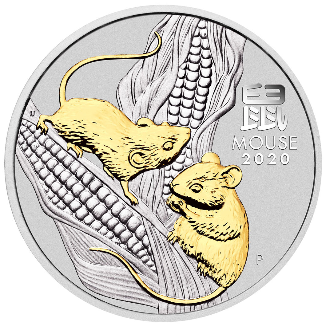 2020 $1 Year of the Mouse 1oz Silver Gilded Coin