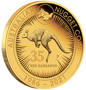 2021 $25 35th Anniversary Nugget 1/4oz Gold Proof Coin