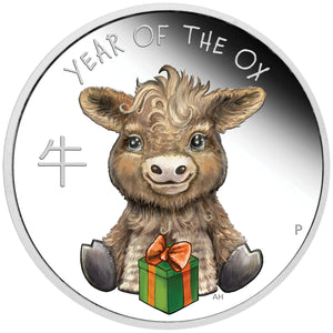 2021 Tuvalu 50c Baby Ox 1/2oz Silver Proof Coin