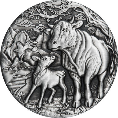 2021 $2 Year of the Ox 2oz Silver Antiqued Coin