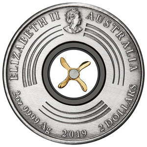 2019 $2 100th Anniv 1st Flight England to Australia  2oz Silver Antiqued Coin
